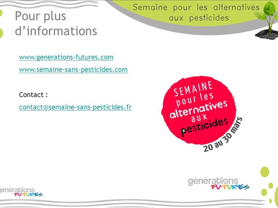 Pour plus dinformations www.generations-futures.com www.semaine-sans-pesticides.com Contact : contact@semaine-sans-pesticides.fr
