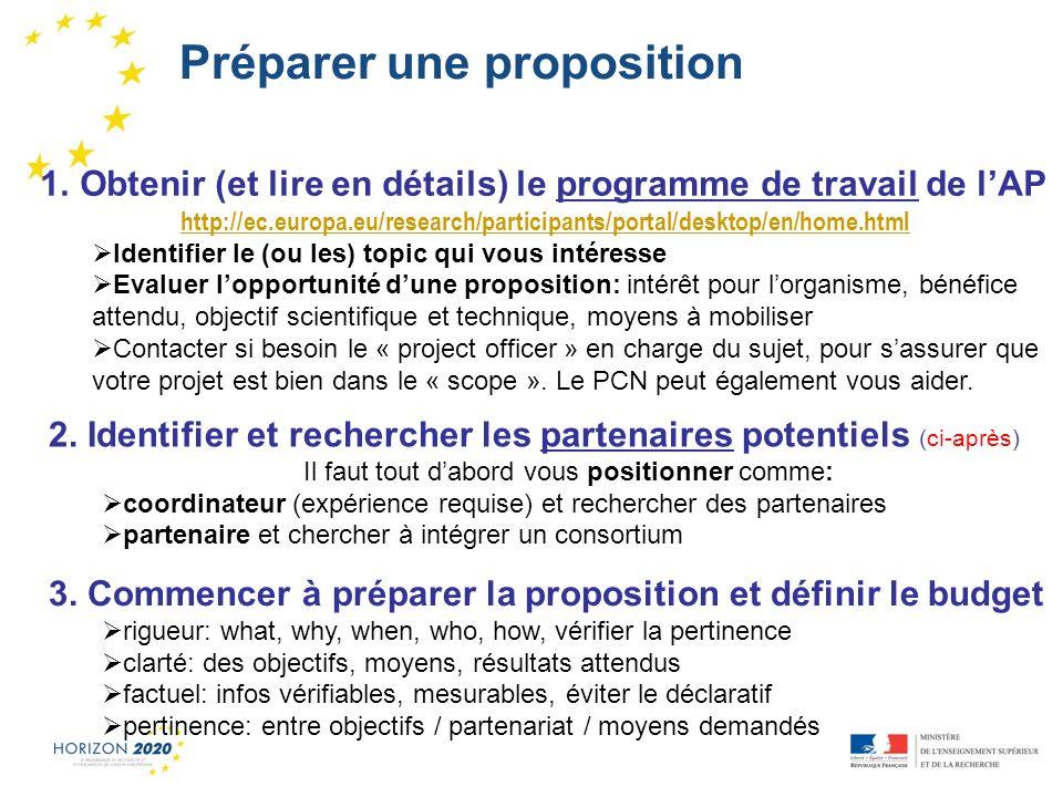 1 1. Obtenir (et lire en détails) le programme de travail de lAP http://ec.europa.eu/research/participants/portal/desktop/en/home.html Identifier le (