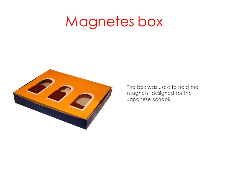 Magnetes box The box was used to hold the magnets, designed for the Japanese school.