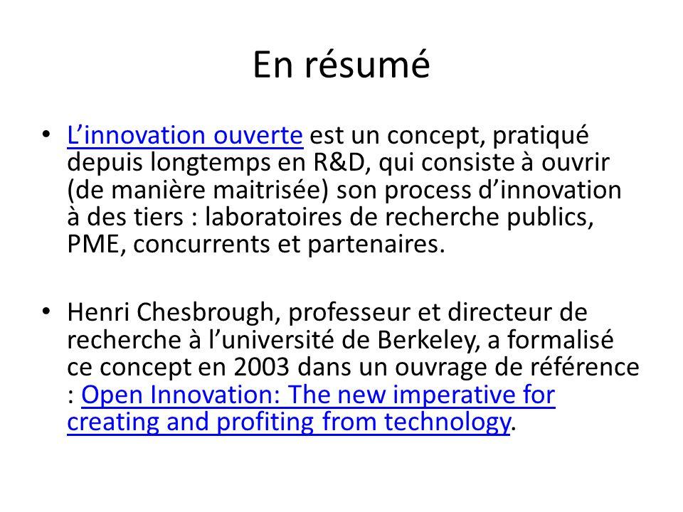 Le schéma 2 représente le processus dinnovation ouvert (Chesbrough 2003) Ce schéma 2 représente le processus dinnovation ouvert (Chesbrough 2003) Stratégie: Inside out: optimisation de sa propriété intellectuelle Stratégie: Outside In : ouverture aux compétences extérieures