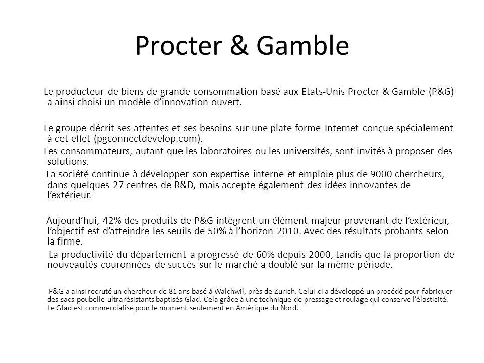 Procter & Gamble Le producteur de biens de grande consommation basé aux Etats-Unis Procter & Gamble (P&G) a ainsi choisi un modèle dinnovation ouvert.