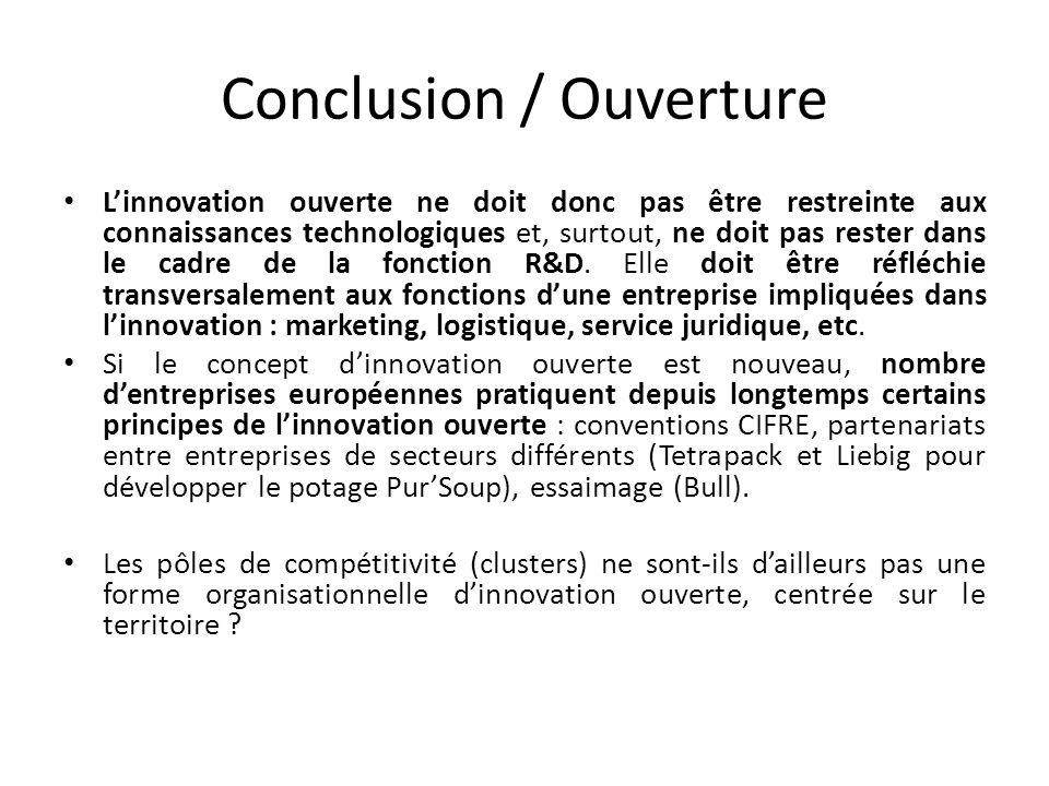 Conclusion / Ouverture Linnovation ouverte ne doit donc pas être restreinte aux connaissances technologiques et, surtout, ne doit pas rester dans le cadre de la fonction R&D.
