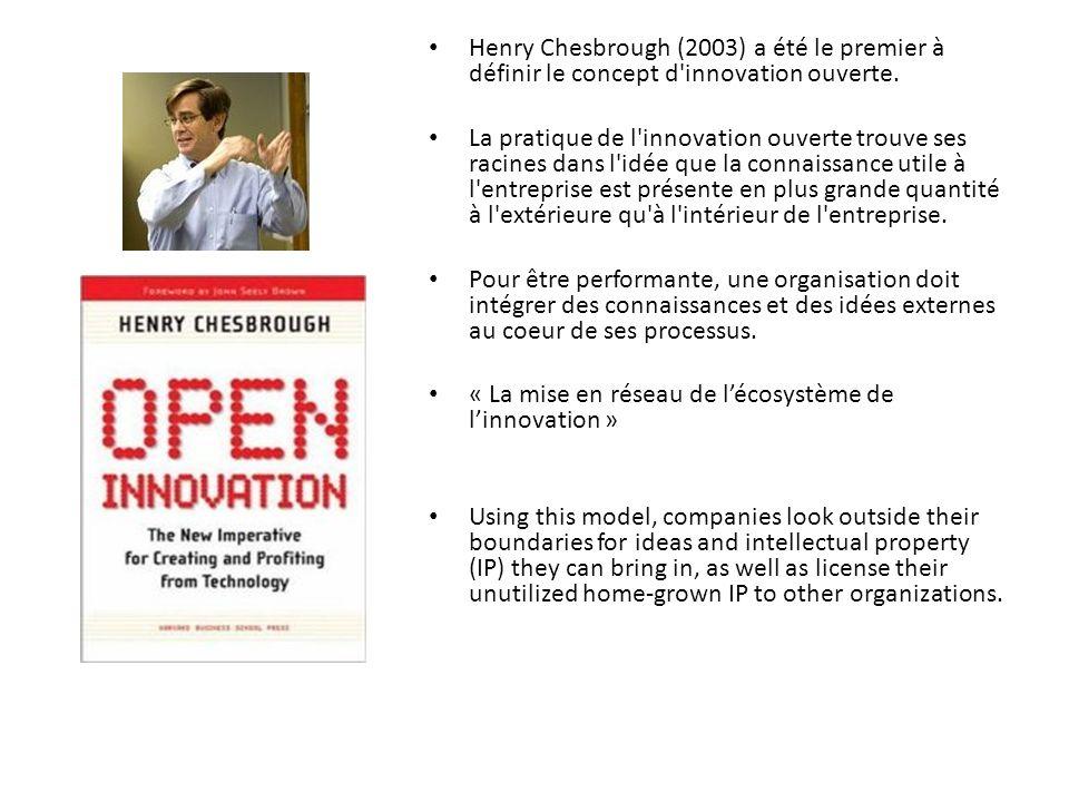 Henry Chesbrough (2003) a été le premier à définir le concept d innovation ouverte.