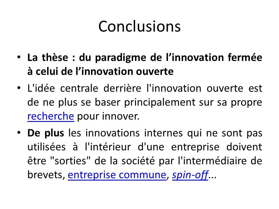 Conclusions La thèse : du paradigme de linnovation fermée à celui de linnovation ouverte L idée centrale derrière l innovation ouverte est de ne plus se baser principalement sur sa propre recherche pour innover.