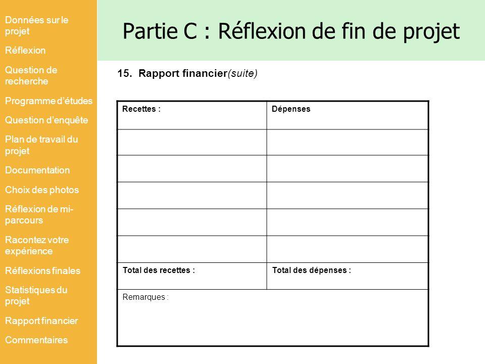 Partie C : Réflexion de fin de projet Recettes :Dépenses Total des recettes :Total des dépenses : Remarques : Données sur le projet Réflexion Question