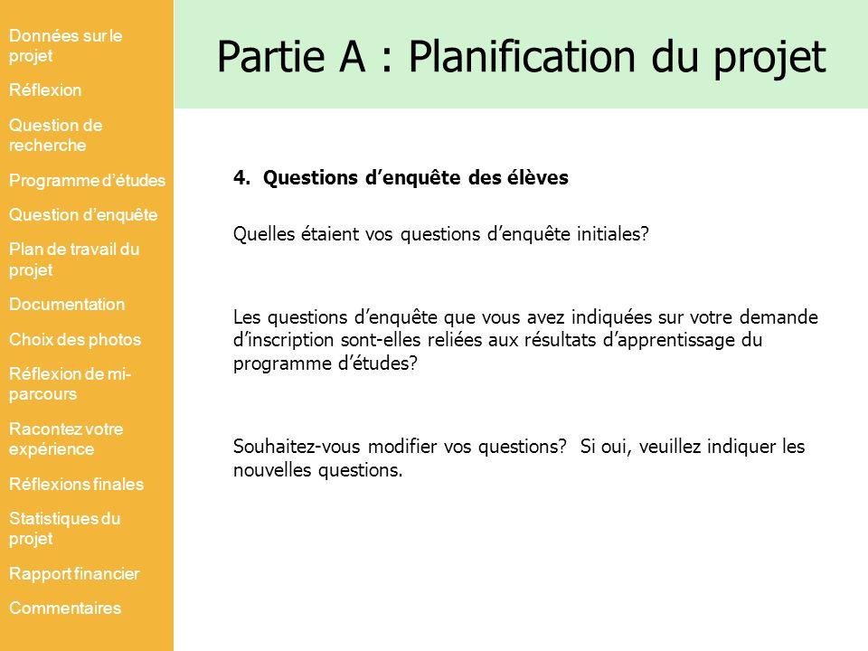 Partie A : Planification du projet 4.