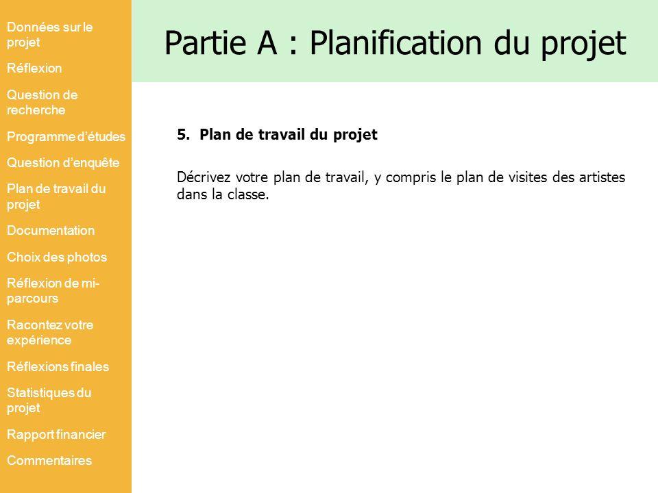 Partie A : Planification du projet 5. Plan de travail du projet Décrivez votre plan de travail, y compris le plan de visites des artistes dans la clas
