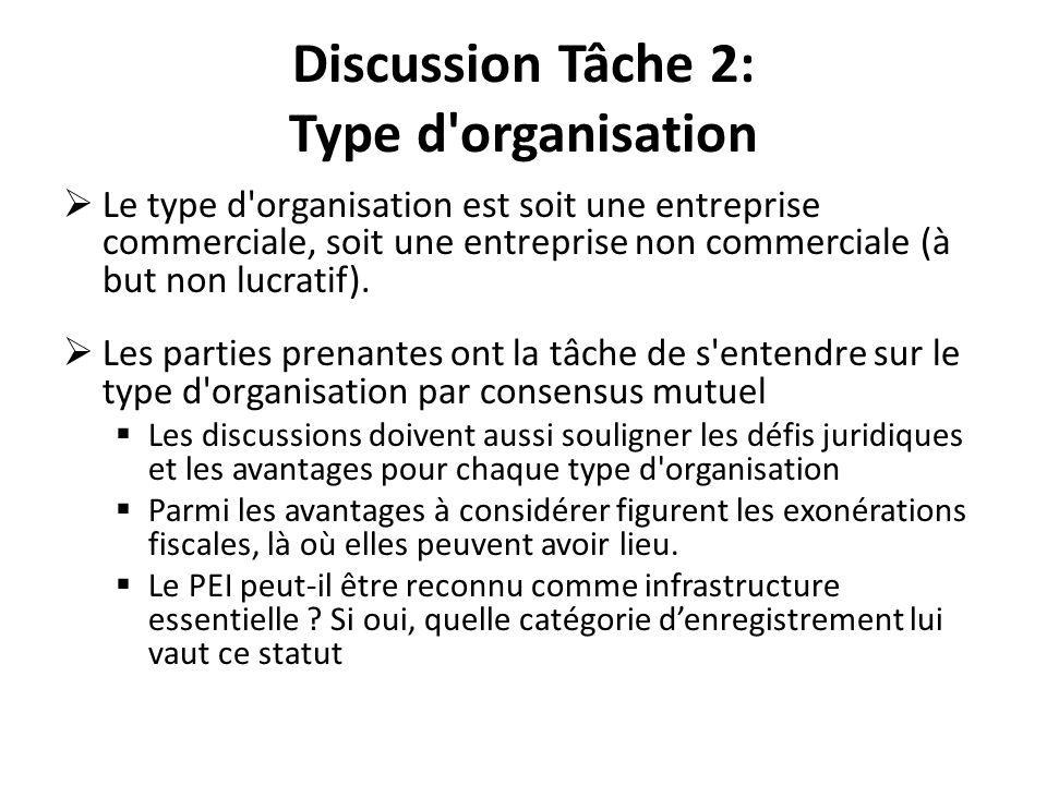 Discussion Tâche 2: Type d'organisation Le type d'organisation est soit une entreprise commerciale, soit une entreprise non commerciale (à but non luc