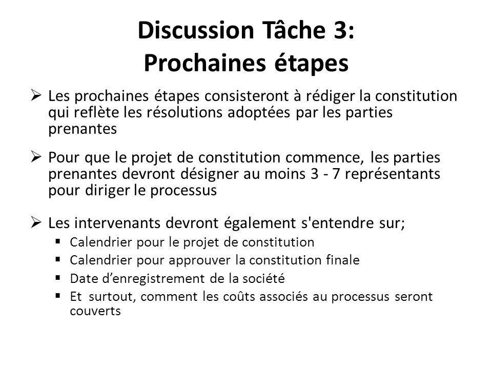 Discussion Tâche 3: Prochaines étapes Les prochaines étapes consisteront à rédiger la constitution qui reflète les résolutions adoptées par les partie