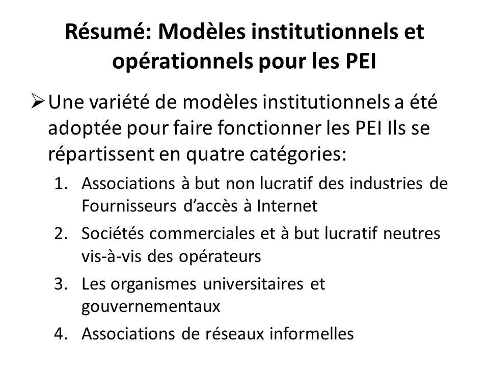 Résumé: Modèles institutionnels et opérationnels pour les PEI Une variété de modèles institutionnels a été adoptée pour faire fonctionner les PEI Ils