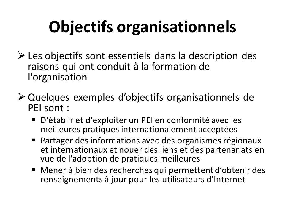 Objectifs organisationnels Les objectifs sont essentiels dans la description des raisons qui ont conduit à la formation de l'organisation Quelques exe