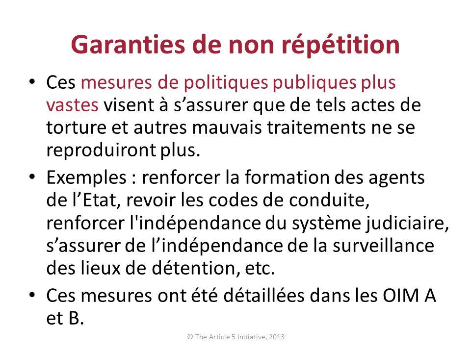 Garanties de non répétition Ces mesures de politiques publiques plus vastes visent à sassurer que de tels actes de torture et autres mauvais traitements ne se reproduiront plus.