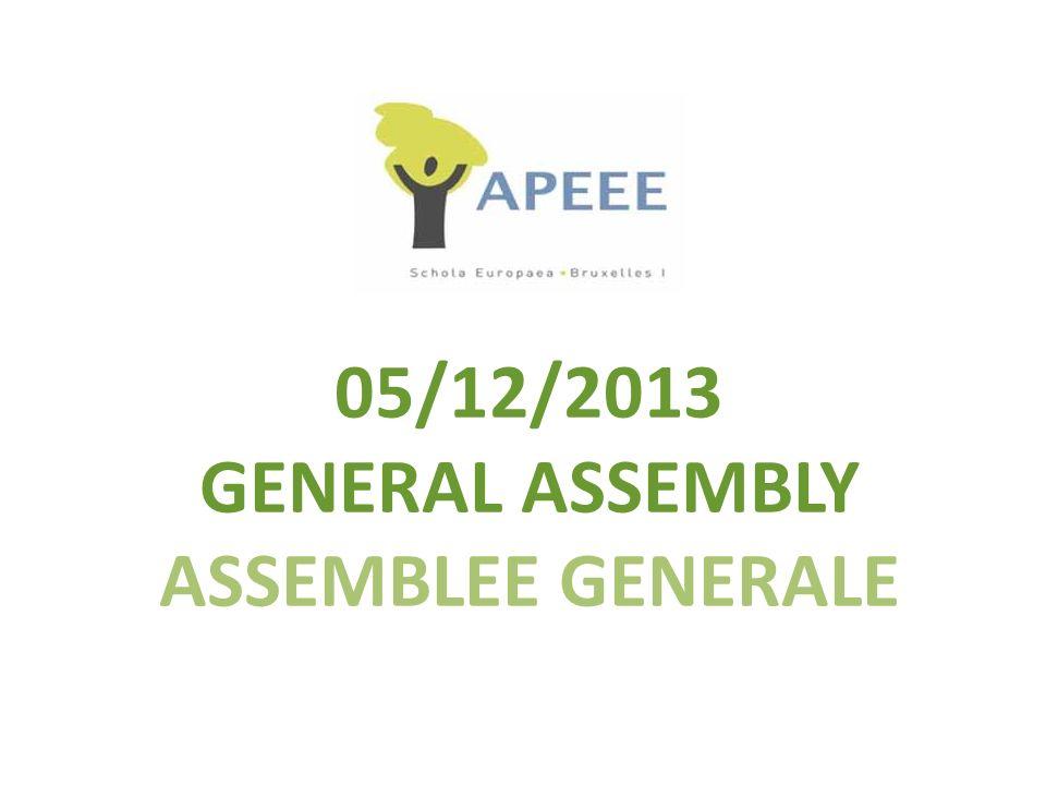 Assemblée générale APEEE Bruxelles1 05-12-2013 Section : FR Enfants en / Children in S4 & S6 Membre du C.A.