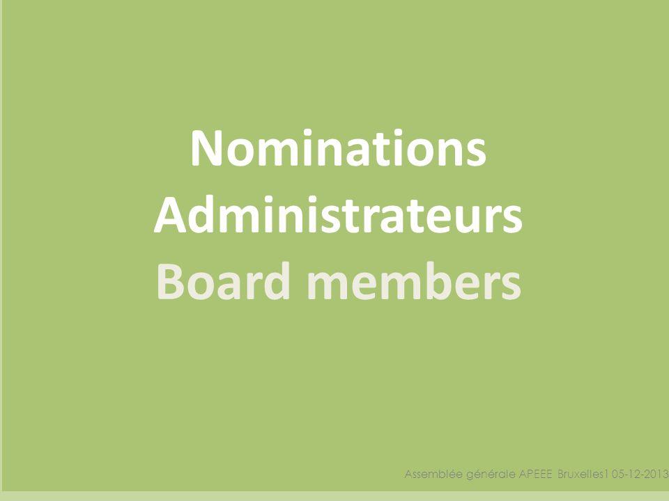 Nominations Administrateurs Board members Assemblée générale APEEE Bruxelles1 05-12-2013