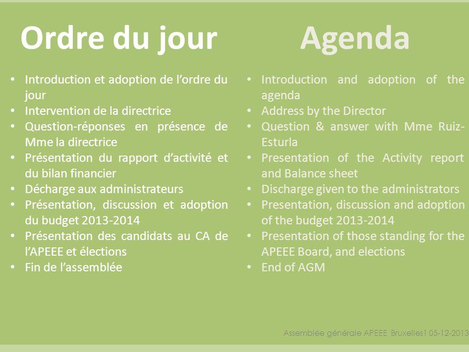 Ordre du jourAgenda Assemblée générale APEEE Bruxelles1 05-12-2013 Introduction et adoption de lordre du jour Intervention de la directrice Question-r