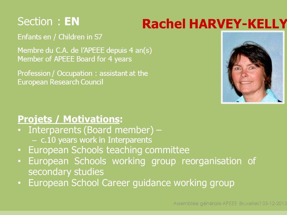 Assemblée générale APEEE Bruxelles1 05-12-2013 Section : EN Enfants en / Children in S7 Membre du C.A.
