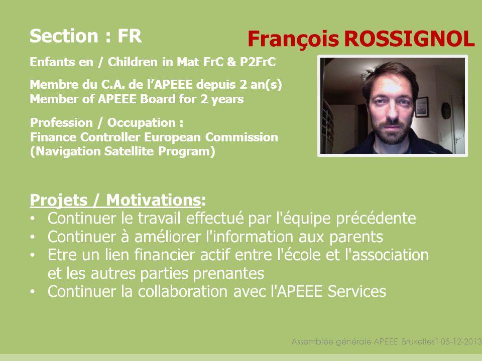 Assemblée générale APEEE Bruxelles1 05-12-2013 Section : FR Enfants en / Children in Mat FrC & P2FrC Membre du C.A. de lAPEEE depuis 2 an(s) Member of