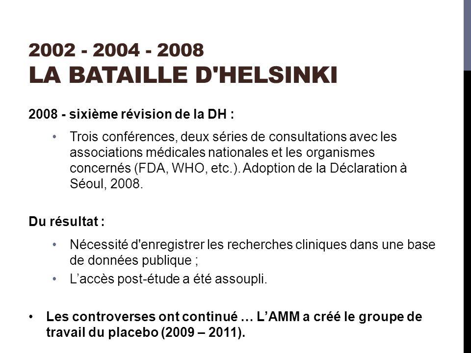 2002 - 2004 - 2008 LA BATAILLE D HELSINKI 2008 - sixième révision de la DH : Trois conférences, deux séries de consultations avec les associations médicales nationales et les organismes concernés (FDA, WHO, etc.).