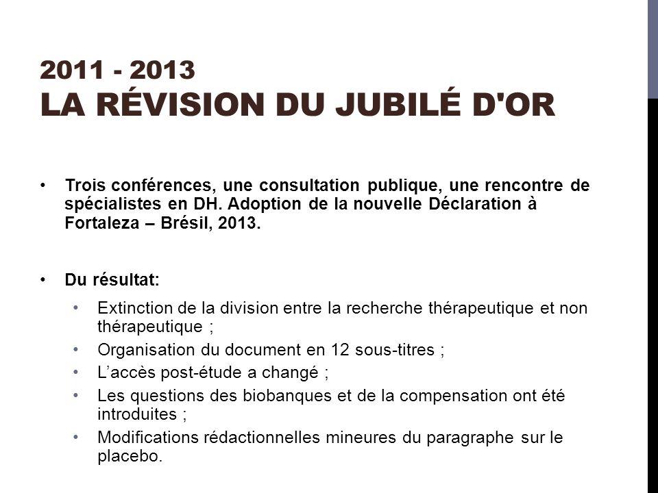 2011 - 2013 LA RÉVISION DU JUBILÉ D OR Trois conférences, une consultation publique, une rencontre de spécialistes en DH.