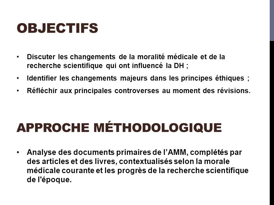 OBJECTIFS Analyse des documents primaires de lAMM, complétés par des articles et des livres, contextualisés selon la morale médicale courante et les progrès de la recherche scientifique de l époque.