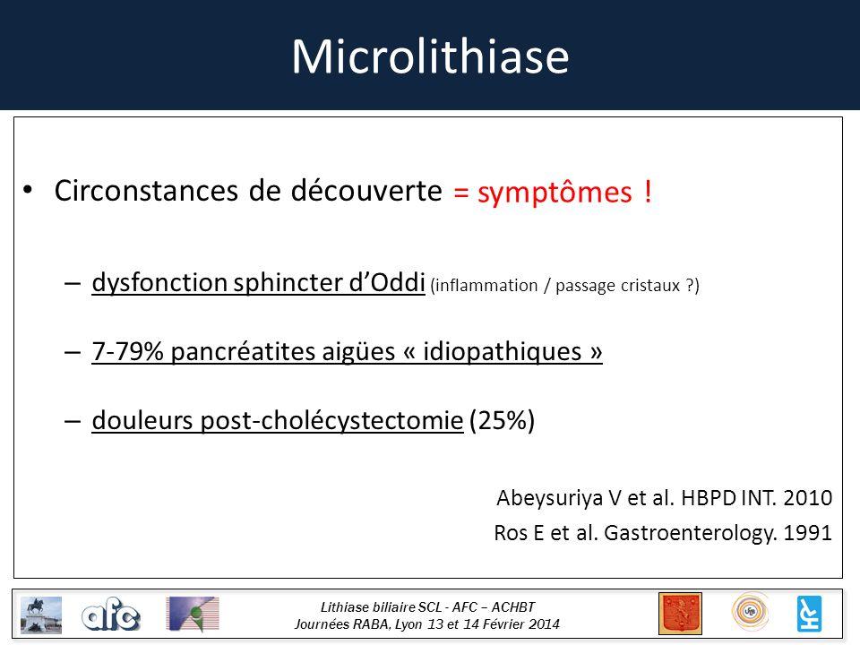 Lithiase biliaire SCL - AFC – ACHBT Journées RABA, Lyon 13 et 14 Février 2014 Microlithiase Circonstances de découverte – dysfonction sphincter dOddi