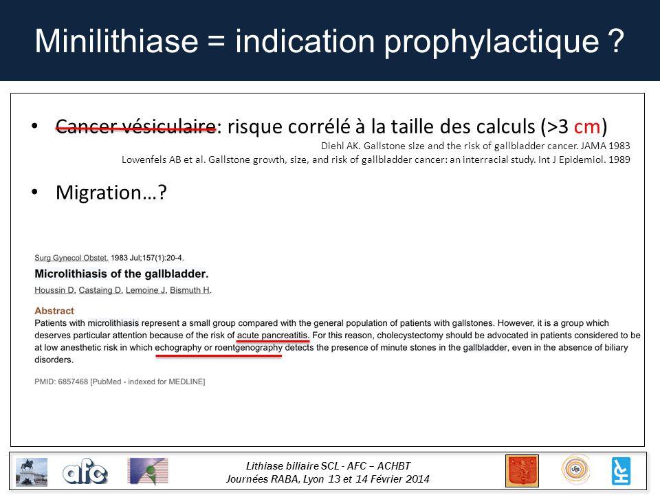 Lithiase biliaire SCL - AFC – ACHBT Journées RABA, Lyon 13 et 14 Février 2014 Minilithiase = indication prophylactique ? Cancer vésiculaire: risque co