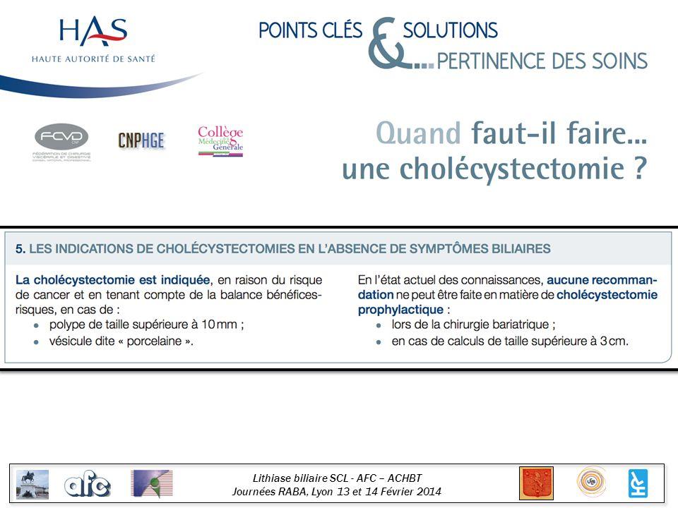 Lithiase biliaire SCL - AFC – ACHBT Journées RABA, Lyon 13 et 14 Février 2014 Algorithme Lithiase vésiculaire Symptômes Pas de symptôme Chirurgie Microlithiase En France Pays dorigine Ethnies à risque