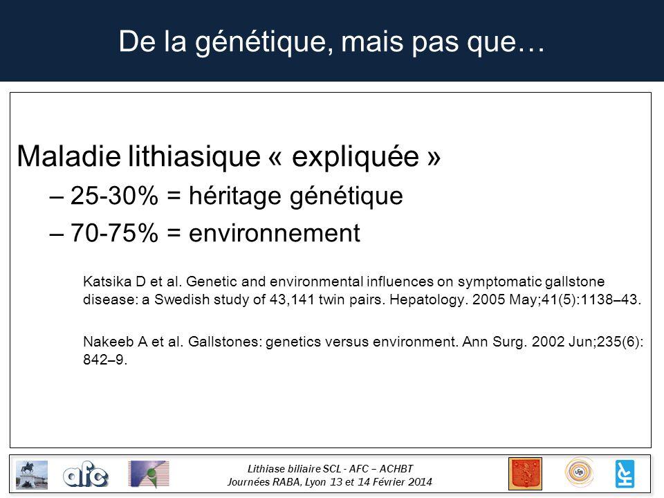 Lithiase biliaire SCL - AFC – ACHBT Journées RABA, Lyon 13 et 14 Février 2014 De la génétique, mais pas que… Maladie lithiasique « expliquée » – 25-30