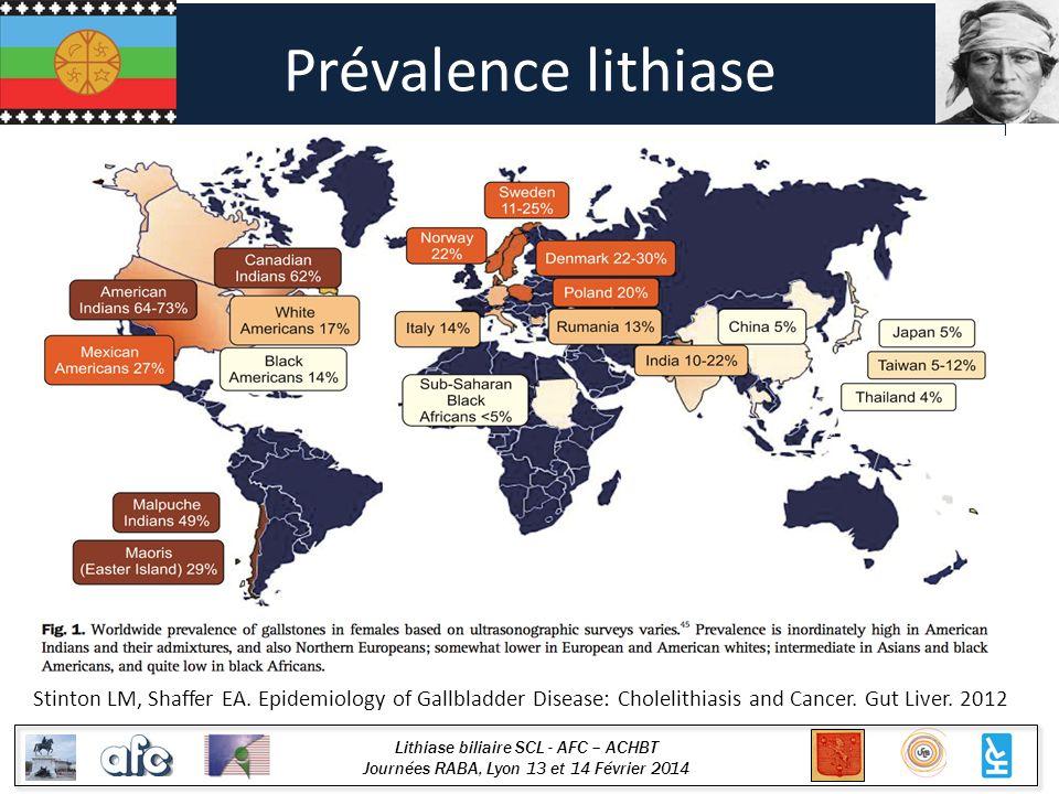Lithiase biliaire SCL - AFC – ACHBT Journées RABA, Lyon 13 et 14 Février 2014 Prévalence lithiase Stinton LM, Shaffer EA. Epidemiology of Gallbladder