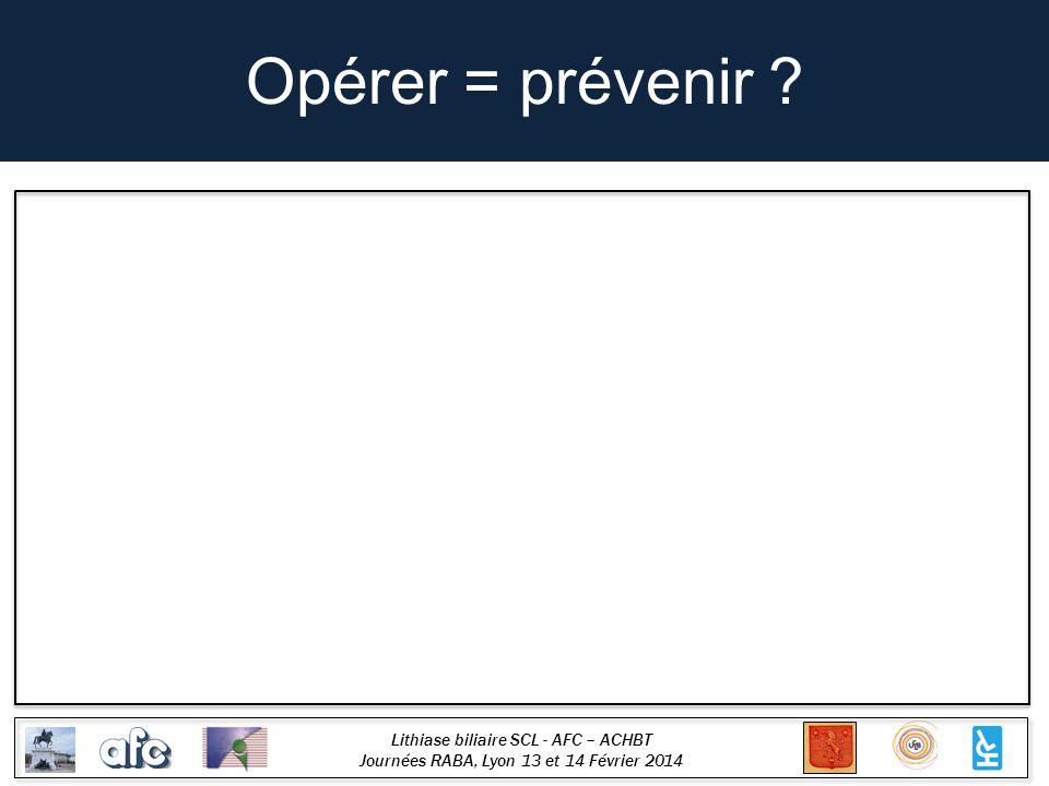 Lithiase biliaire SCL - AFC – ACHBT Journées RABA, Lyon 13 et 14 Février 2014 Opérer = prévenir ?