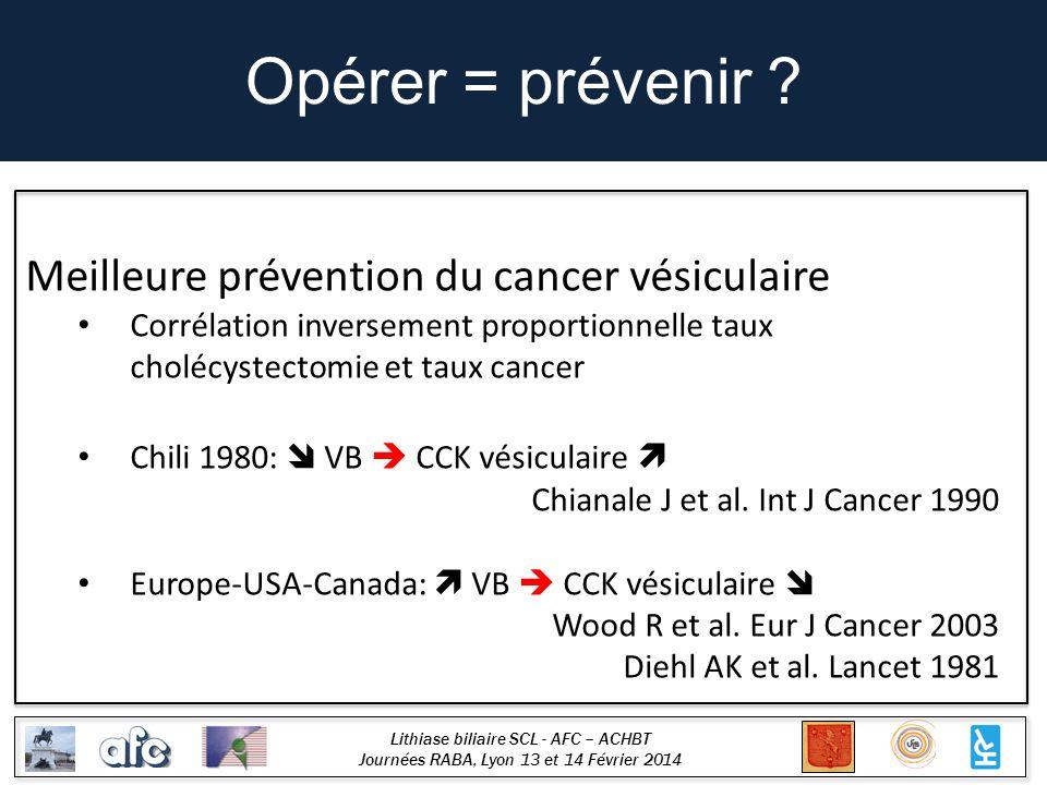 Lithiase biliaire SCL - AFC – ACHBT Journées RABA, Lyon 13 et 14 Février 2014 Opérer = prévenir ? Meilleure prévention du cancer vésiculaire Corrélati
