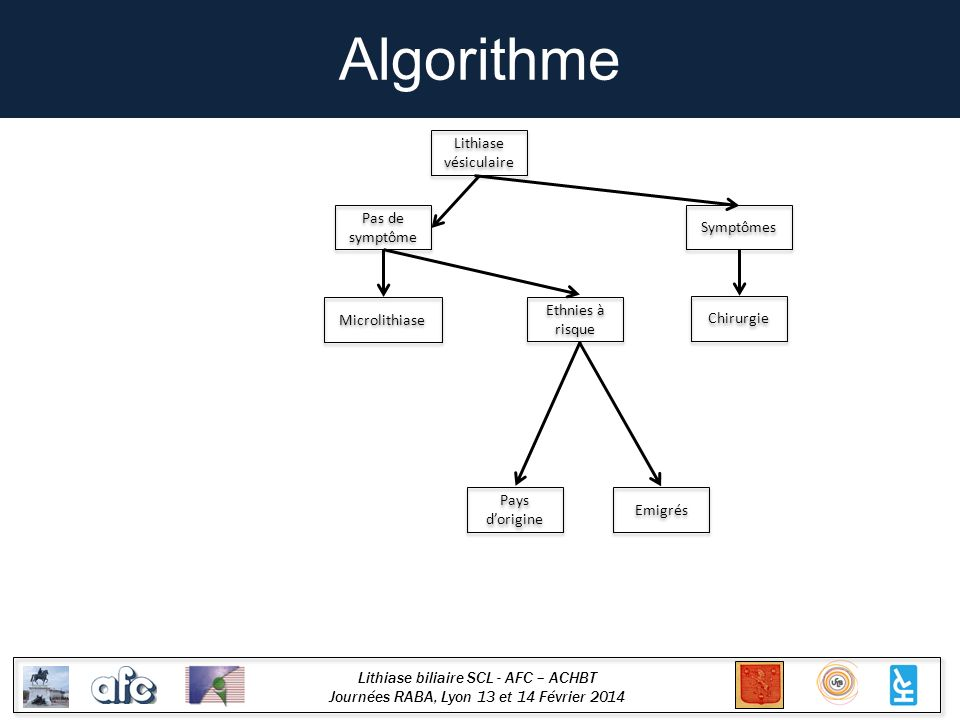 Lithiase biliaire SCL - AFC – ACHBT Journées RABA, Lyon 13 et 14 Février 2014 Algorithme Microlithiase Ethnies à risque Histoire naturelle différente .