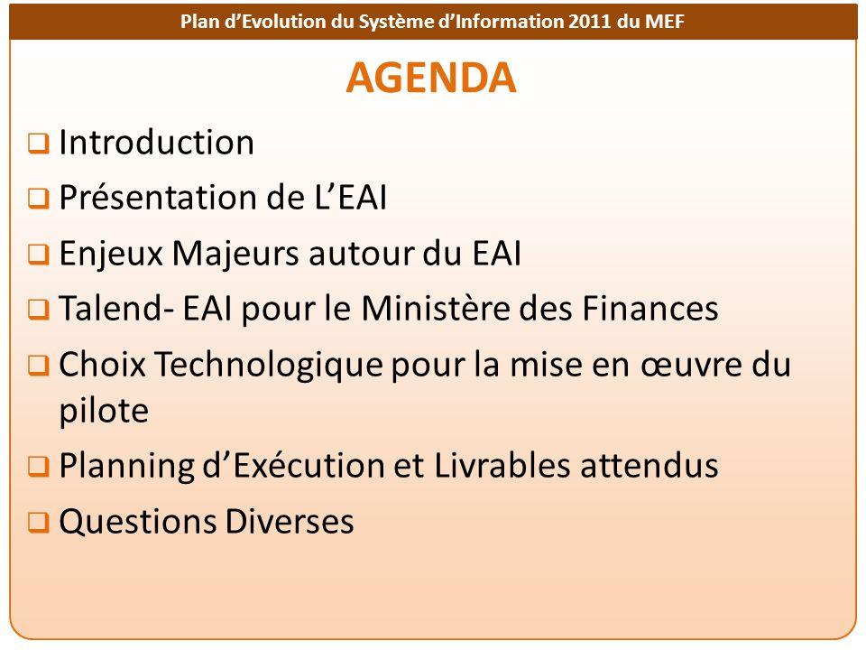 Plan dEvolution du Système dInformation 2011 du MEF AGENDA Introduction Présentation de LEAI Enjeux Majeurs autour du EAI Talend- EAI pour le Ministèr