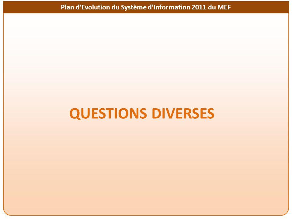 Plan dEvolution du Système dInformation 2011 du MEF QUESTIONS DIVERSES
