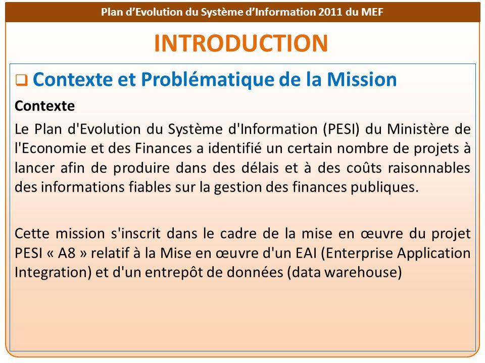 Plan dEvolution du Système dInformation 2011 du MEF INTRODUCTION Contexte et Problématique de la Mission Contexte Le Plan d'Evolution du Système d'Inf