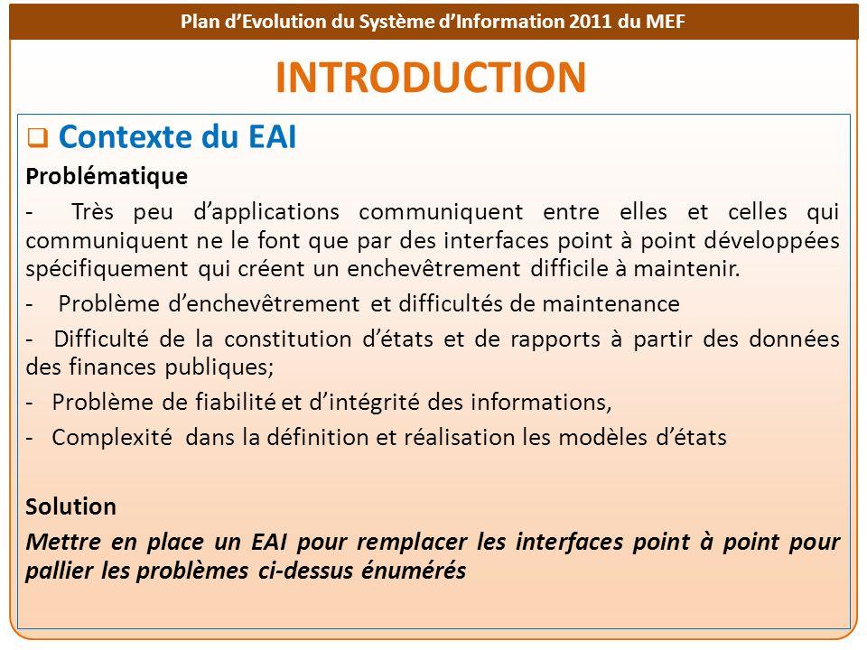 Plan dEvolution du Système dInformation 2011 du MEF INTRODUCTION Objectifs Visés Faciliter l échange de données entre les applications informatiques de gestion des finances publiques à travers un EAI - EAI qui remplacera toutes les interfaces point à point existant entre applications