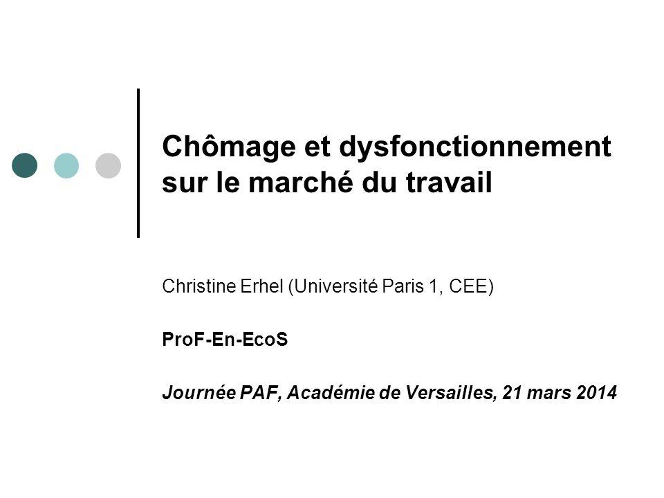Chômage et dysfonctionnement sur le marché du travail Christine Erhel (Université Paris 1, CEE) ProF-En-EcoS Journée PAF, Académie de Versailles, 21 m