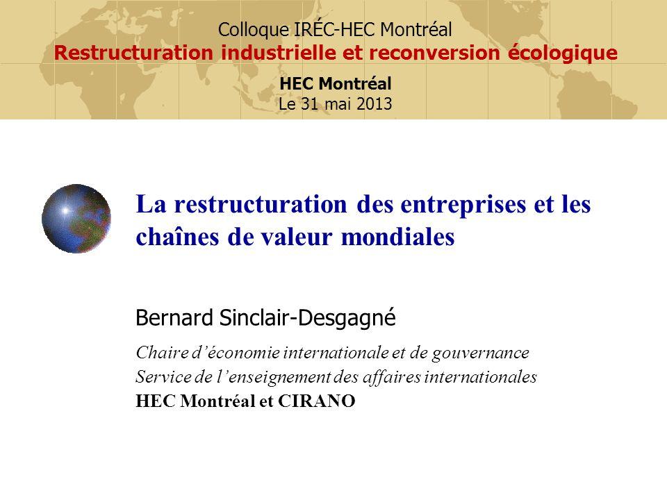 La restructuration des entreprises et les chaînes de valeur mondiales Bernard Sinclair-Desgagné Chaire déconomie internationale et de gouvernance Serv