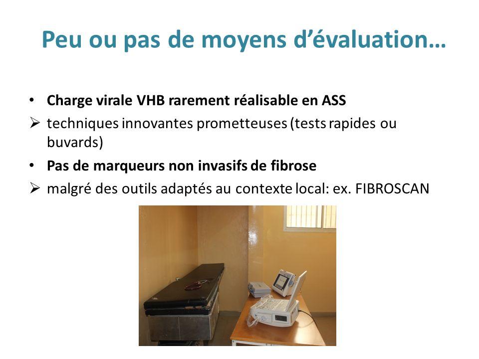 Peu ou pas de moyens dévaluation… Charge virale VHB rarement réalisable en ASS techniques innovantes prometteuses (tests rapides ou buvards) Pas de ma