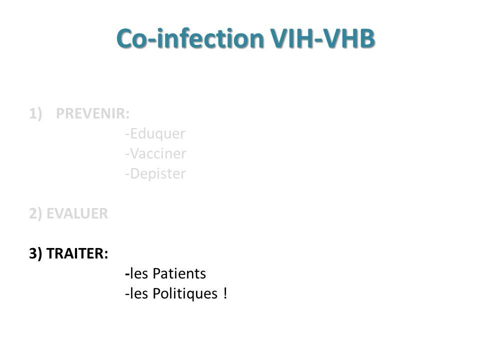 Co-infection VIH-VHB 1)PREVENIR: -Eduquer -Vacciner -Depister 2) EVALUER 3) TRAITER: -les Patients -les Politiques !