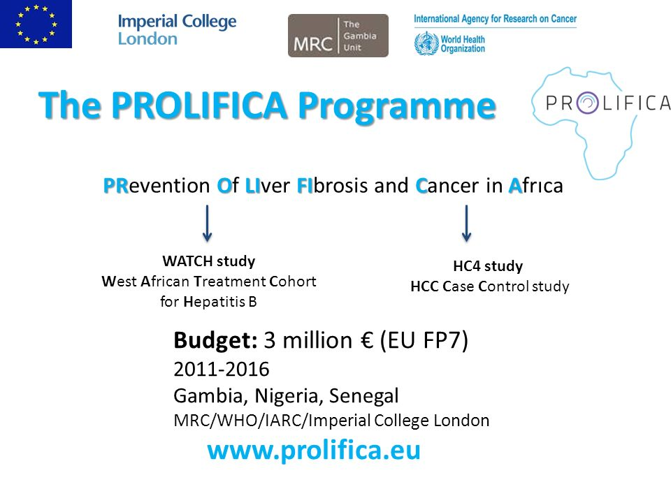 The PROLIFICA Programme PROLIFICA PRevention Of LIver FIbrosis and Cancer in Africa WATCH study West African Treatment Cohort for Hepatitis B HC4 study HCC Case Control study Budget: 3 million (EU FP7) 2011-2016 Gambia, Nigeria, Senegal MRC/WHO/IARC/Imperial College London www.prolifica.eu
