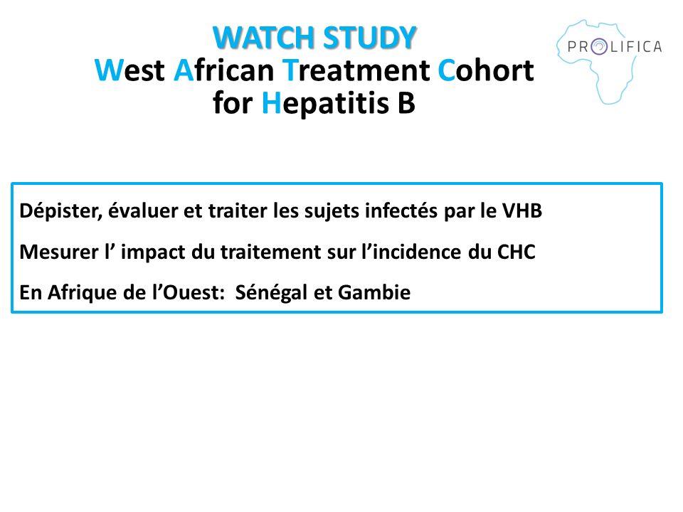 Dépister, évaluer et traiter les sujets infectés par le VHB Mesurer l impact du traitement sur lincidence du CHC En Afrique de lOuest: Sénégal et Gambie WATCH STUDY WATCH STUDY West African Treatment Cohort for Hepatitis B