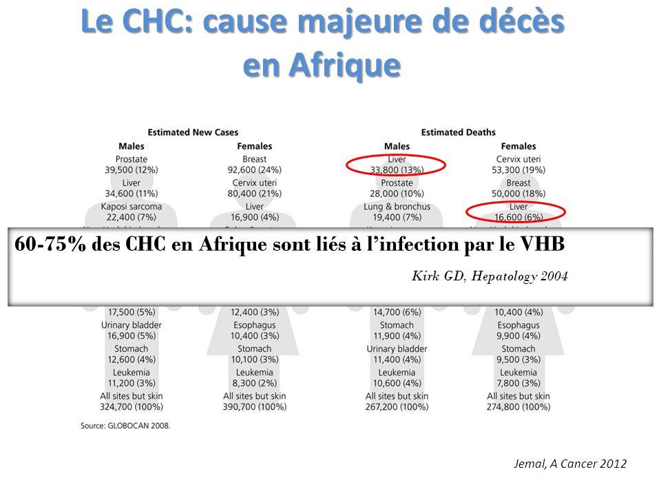 Le CHC: cause majeure de décès en Afrique Jemal, A Cancer 2012 60-75% des CHC en Afrique sont liés à linfection par le VHB Kirk GD, Hepatology 2004