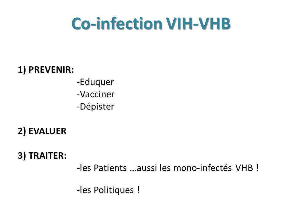 Co-infection VIH-VHB 1)PREVENIR: -Eduquer -Vacciner -Dépister 2) EVALUER 3) TRAITER: -les patients dont les patients MONO-HBV -les Politiques !