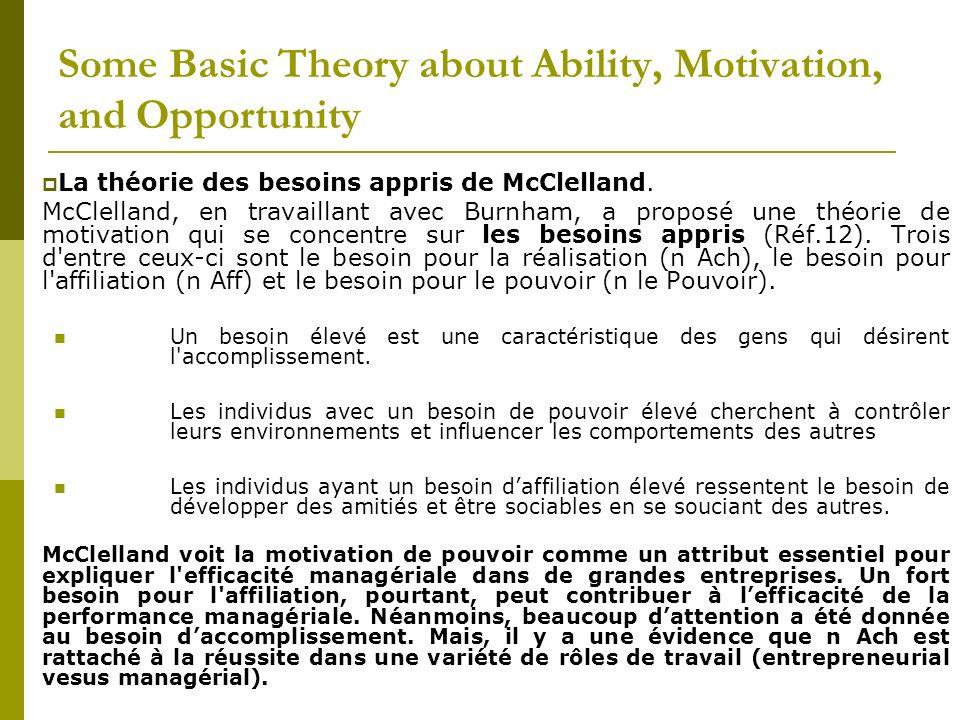 La théorie des besoins appris de McClelland. McClelland, en travaillant avec Burnham, a proposé une théorie de motivation qui se concentre sur les bes