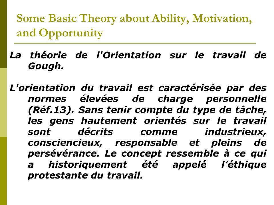 La théorie de l'Orientation sur le travail de Gough. L'orientation du travail est caractérisée par des normes élevées de charge personnelle (Réf.13).