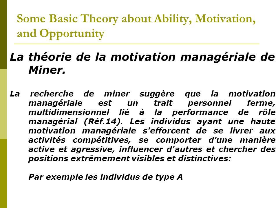 La théorie de la motivation managériale de Miner. La recherche de miner suggère que la motivation managériale est un trait personnel ferme, multidimen