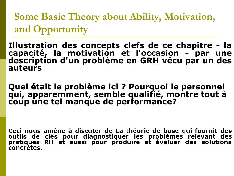Some Basic Theory about Ability, Motivation, and Opportunity Illustration des concepts clefs de ce chapitre - la capacité, la motivation et l'occasion