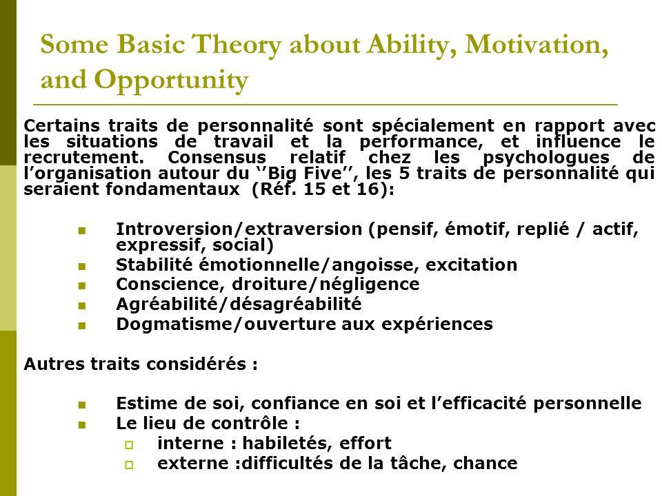 Certains traits de personnalité sont spécialement en rapport avec les situations de travail et la performance, et influence le recrutement. Consensus