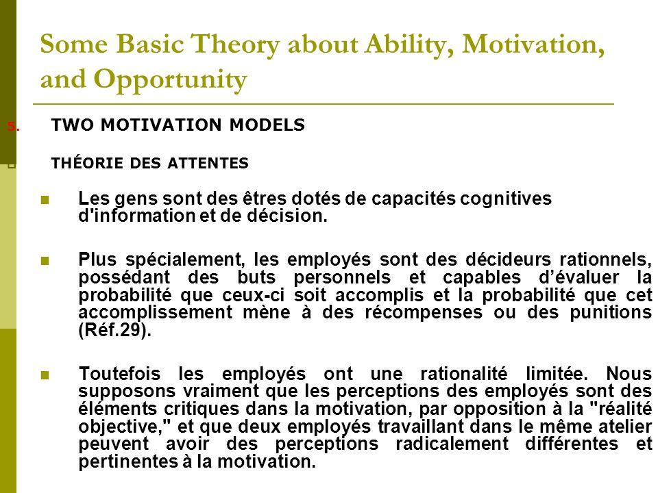 5. TWO MOTIVATION MODELS THÉORIE DES ATTENTES Les gens sont des êtres dotés de capacités cognitives d'information et de décision. Plus spécialement, l